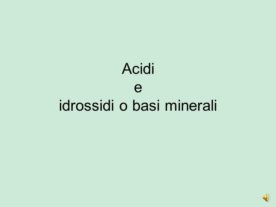 Acidi e idrossidi o basi minerali
