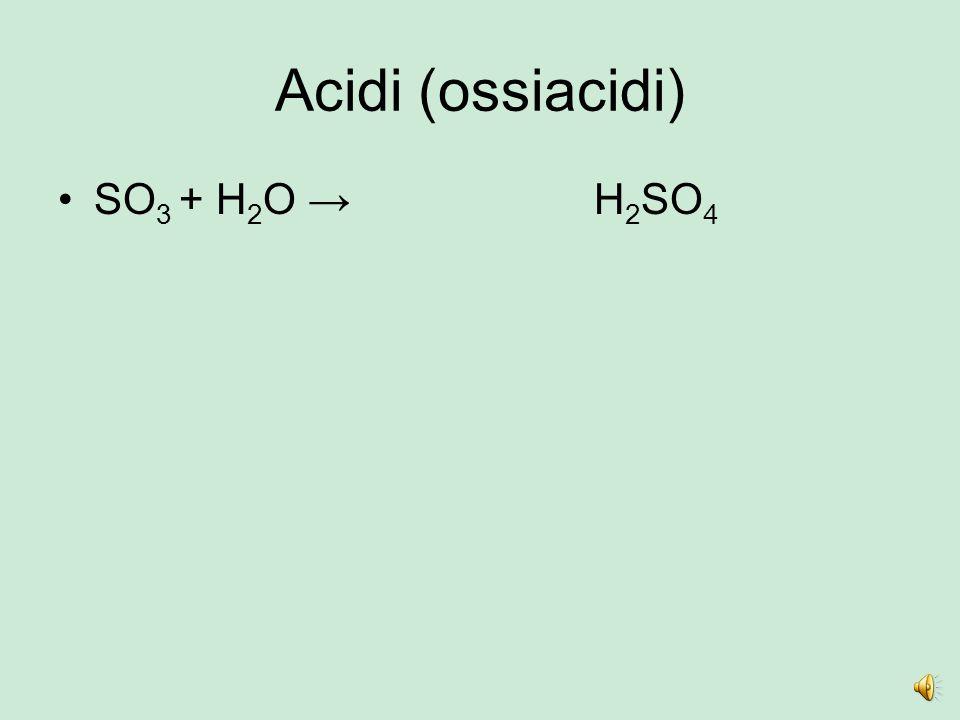 Acidi (ossiacidi) SO 2 + H 2 O →H2H2 SO3O3 H 2 SO 3