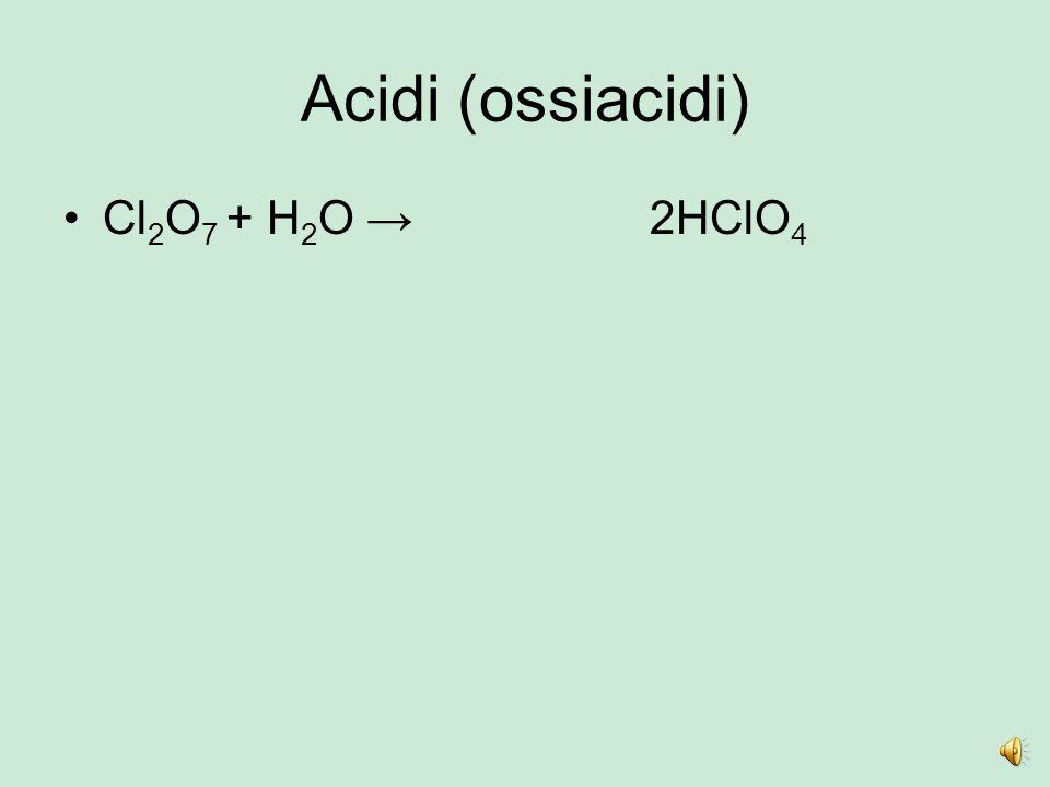 Acidi (ossiacidi) Cl 2 O 5 + H 2 O →H2H2 Cl 2 O4O4 2HClO 3