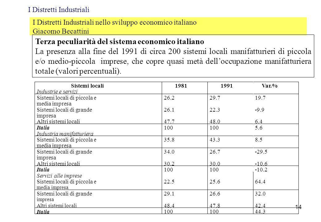 I Distretti Industriali nello sviluppo economico italiano Giacomo Becattini Terza peculiarità del sistema economico italiano La presenza alla fine del