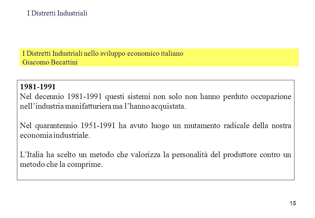 I Distretti Industriali nello sviluppo economico italiano Giacomo Becattini 1981-1991 Nel decennio 1981-1991 questi sistemi non solo non hanno perduto
