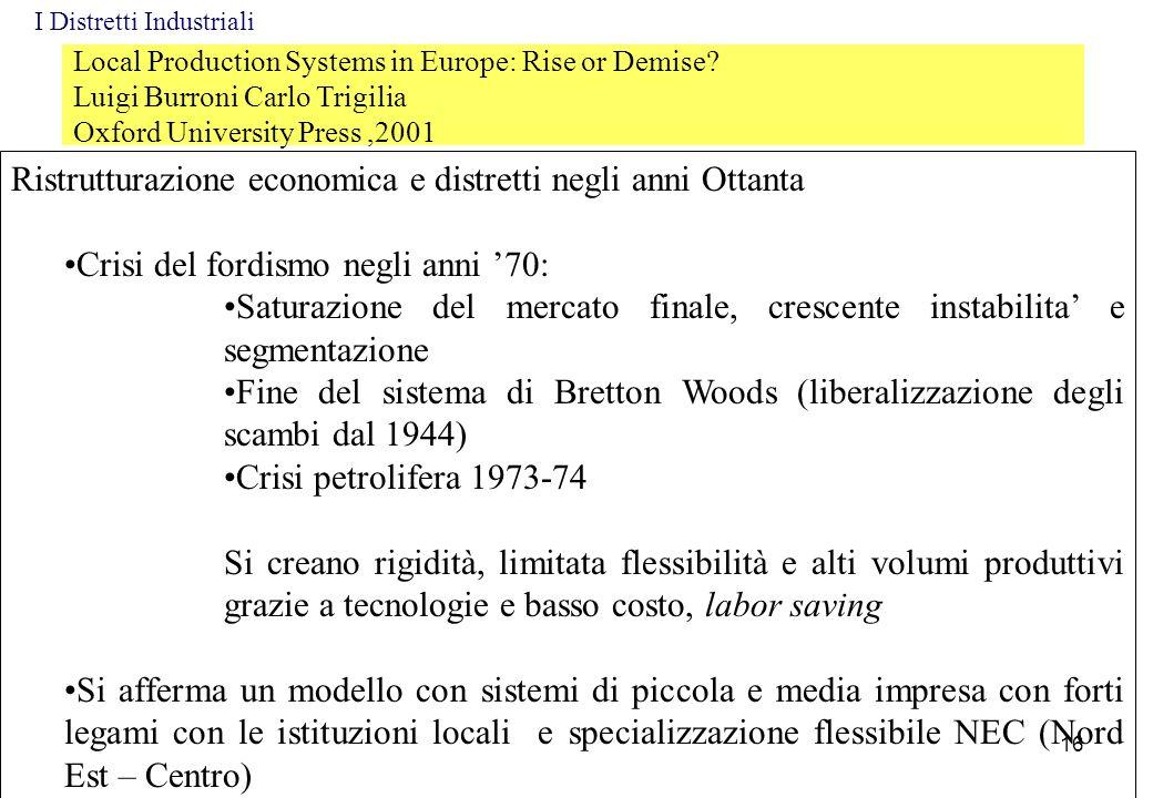 Local Production Systems in Europe: Rise or Demise? Luigi Burroni Carlo Trigilia Oxford University Press,2001 Ristrutturazione economica e distretti n