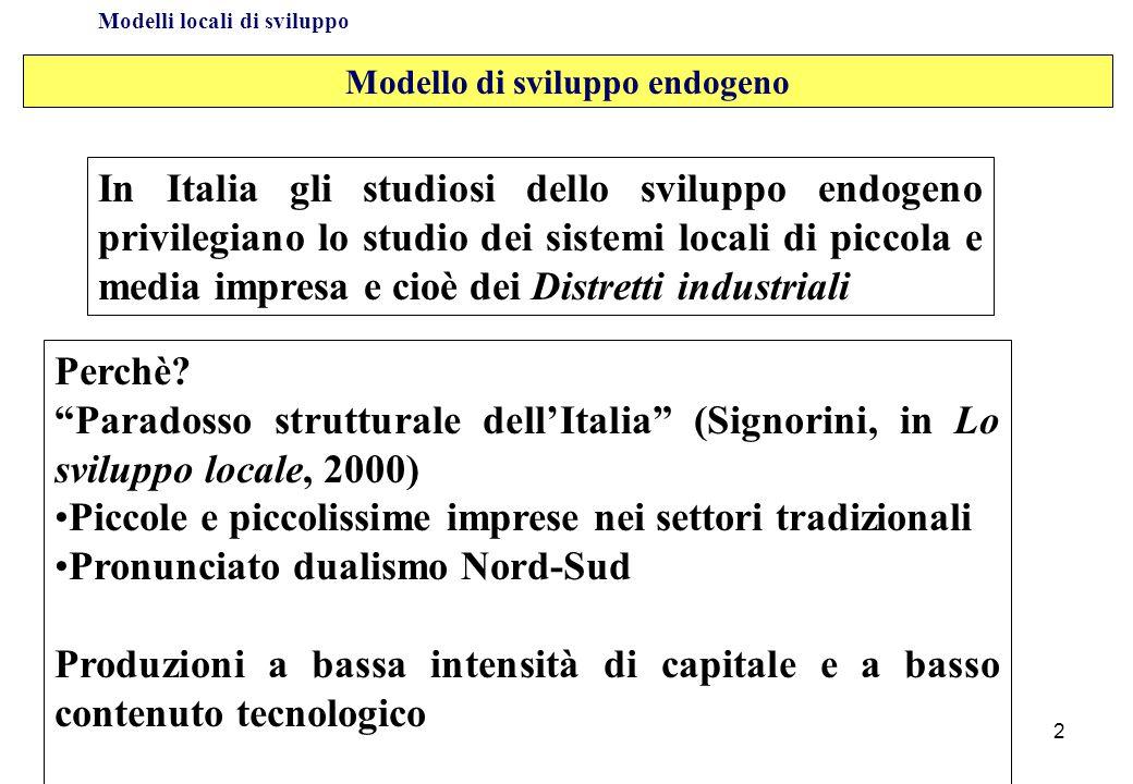 Modelli locali di sviluppo In Italia gli studiosi dello sviluppo endogeno privilegiano lo studio dei sistemi locali di piccola e media impresa e cioè