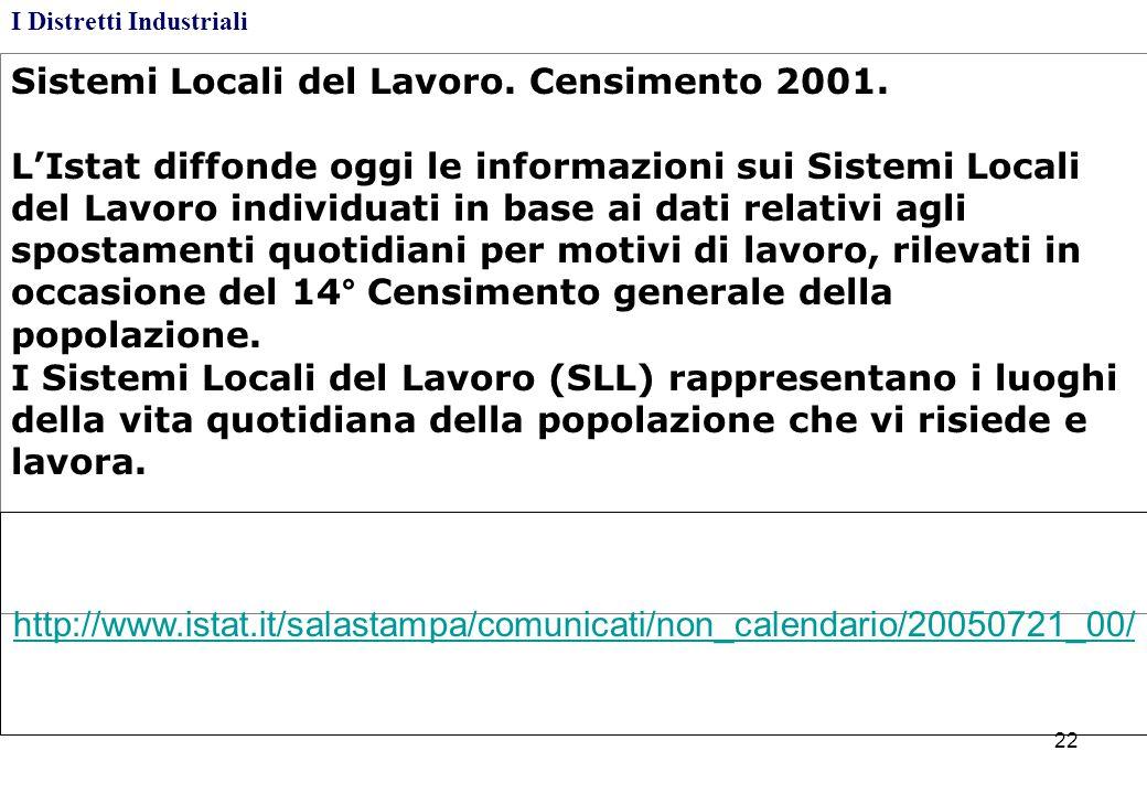 Sistemi Locali del Lavoro. Censimento 2001. L'Istat diffonde oggi le informazioni sui Sistemi Locali del Lavoro individuati in base ai dati relativi a