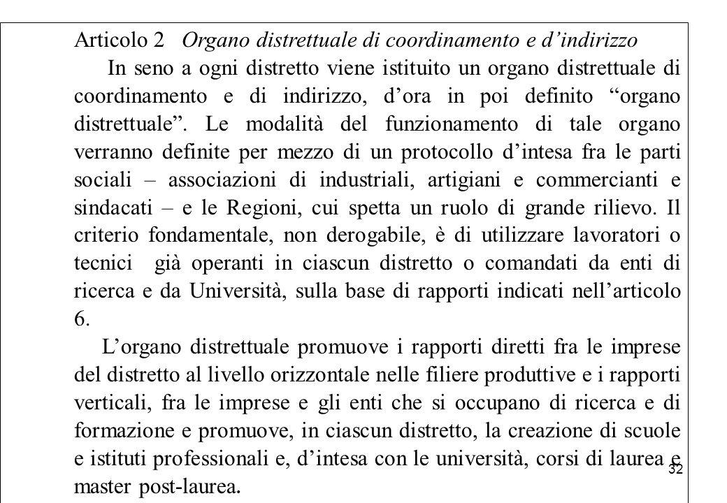Articolo 2 Organo distrettuale di coordinamento e d'indirizzo In seno a ogni distretto viene istituito un organo distrettuale di coordinamento e di in