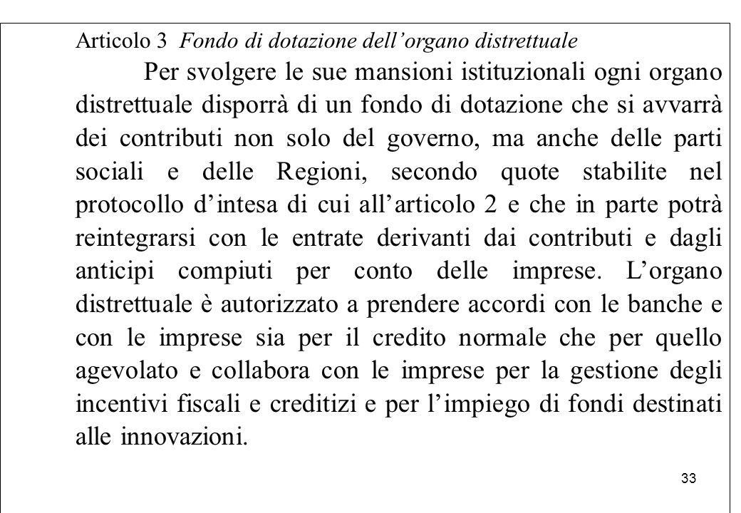 Articolo 3 Fondo di dotazione dell'organo distrettuale Per svolgere le sue mansioni istituzionali ogni organo distrettuale disporrà di un fondo di dot