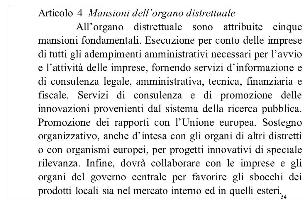Articolo 4 Mansioni dell'organo distrettuale All'organo distrettuale sono attribuite cinque mansioni fondamentali. Esecuzione per conto delle imprese