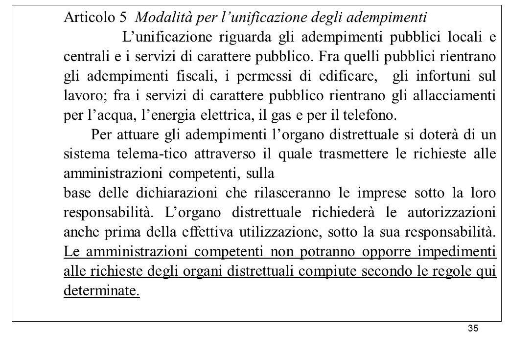 Articolo 5 Modalità per l'unificazione degli adempimenti L'unificazione riguarda gli adempimenti pubblici locali e centrali e i servizi di carattere p