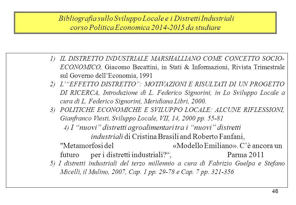1)IL DISTRETTO INDUSTRIALE MARSHALLIANO COME CONCETTO SOCIO- ECONOMICO, Giacomo Becattini, in Stati & Informazioni, Rivista Trimestrale sul Governo de