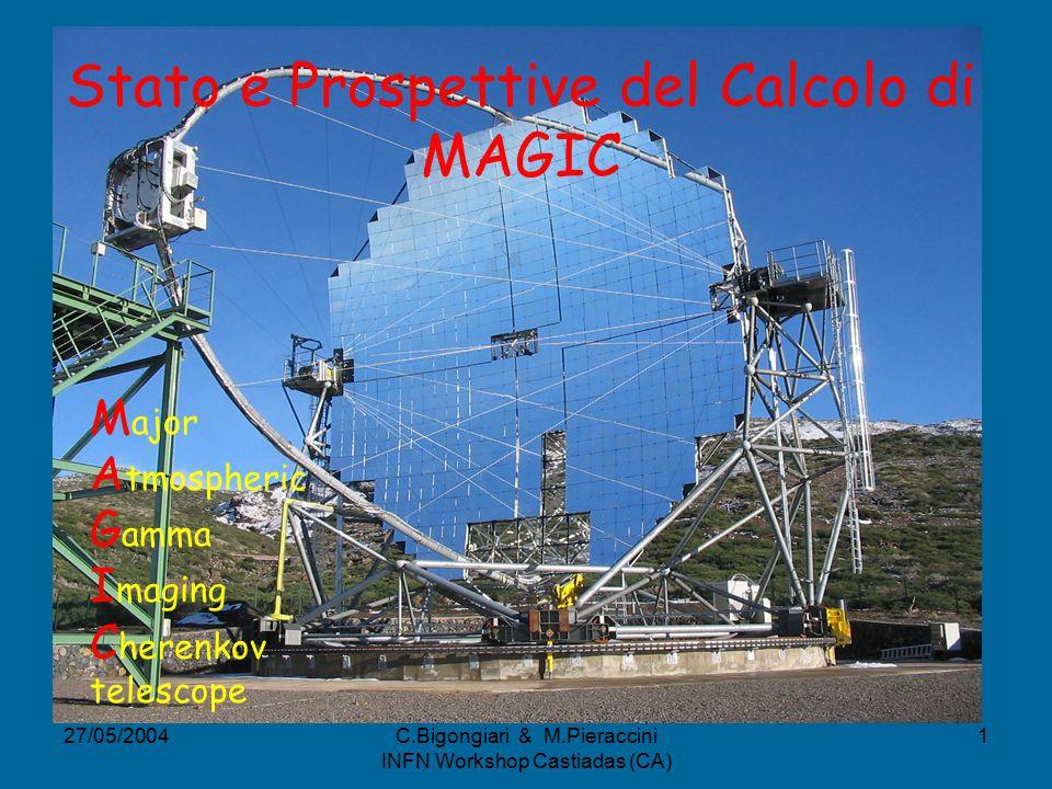 27/05/2004C.Bigongiari & M.Pieraccini INFN Workshop Castiadas (CA) 1 Stato e Prospettive del Calcolo di MAGIC M ajor A tmospheric G amma I maging C herenkov telescope