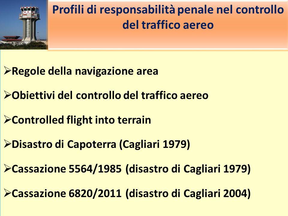  Regole della navigazione area  Obiettivi del controllo del traffico aereo  Controlled flight into terrain  Disastro di Capoterra (Cagliari 1979)