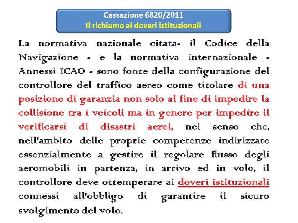 La normativa nazionale citata- il Codice della Navigazione - e la normativa internazionale - Annessi ICAO - sono fonte della configurazione del contro