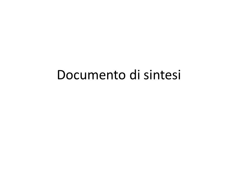 Documento di sintesi