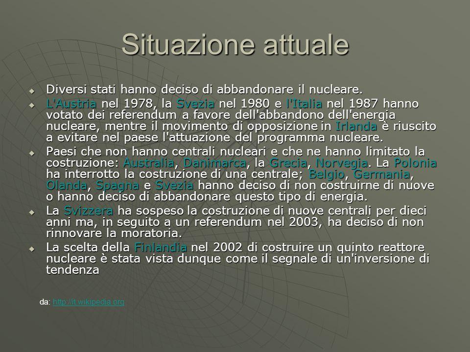 Situazione attuale  Diversi stati hanno deciso di abbandonare il nucleare.  L'Austria nel 1978, la Svezia nel 1980 e l'Italia nel 1987 hanno votato