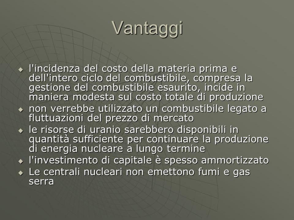 Vantaggi  l'incidenza del costo della materia prima e dell'intero ciclo del combustibile, compresa la gestione del combustibile esaurito, incide in m
