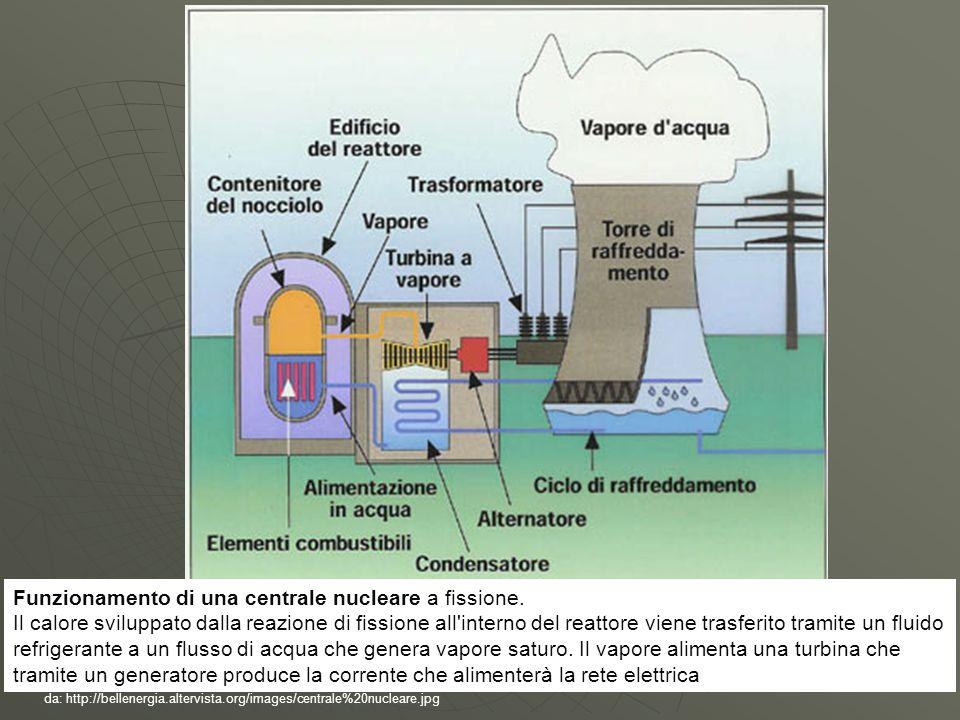 da: http://bellenergia.altervista.org/images/centrale%20nucleare.jpg Funzionamento di una centrale nucleare a fissione. Il calore sviluppato dalla rea