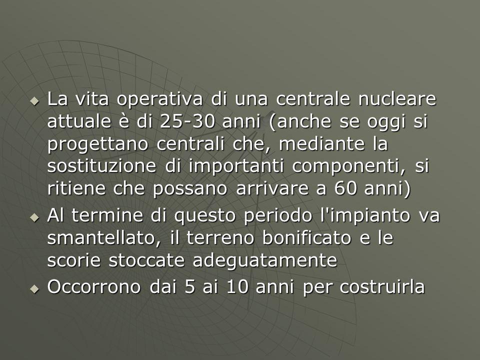  La vita operativa di una centrale nucleare attuale è di 25-30 anni (anche se oggi si progettano centrali che, mediante la sostituzione di importanti