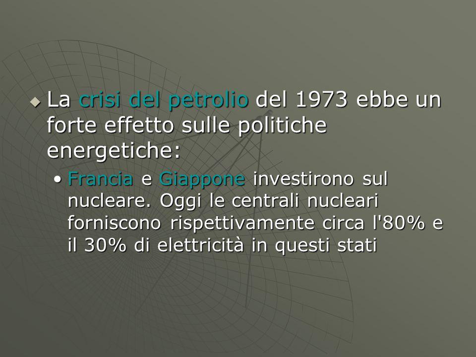  La crisi del petrolio del 1973 ebbe un forte effetto sulle politiche energetiche: Francia e Giappone investirono sul nucleare. Oggi le centrali nucl