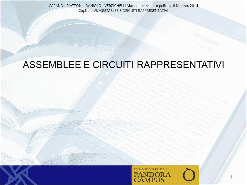 CAPANO - PIATTONI - RANIOLO - VERZICHELLI Manuale di scienza politica, Il Mulino, 2014 Capitolo VI. ASSEMBLEE E CIRCUITI RAPPRESENTATIVI ASSEMBLEE E C