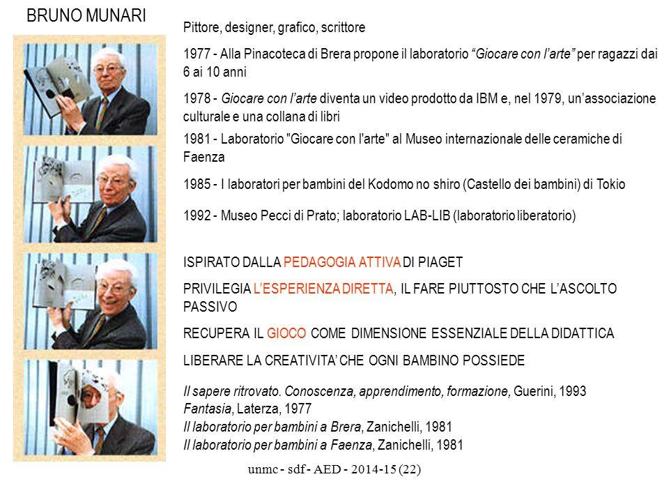 """unmc - sdf - AED - 2014-15 (22) BRUNO MUNARI Pittore, designer, grafico, scrittore 1977 - Alla Pinacoteca di Brera propone il laboratorio """"Giocare con"""