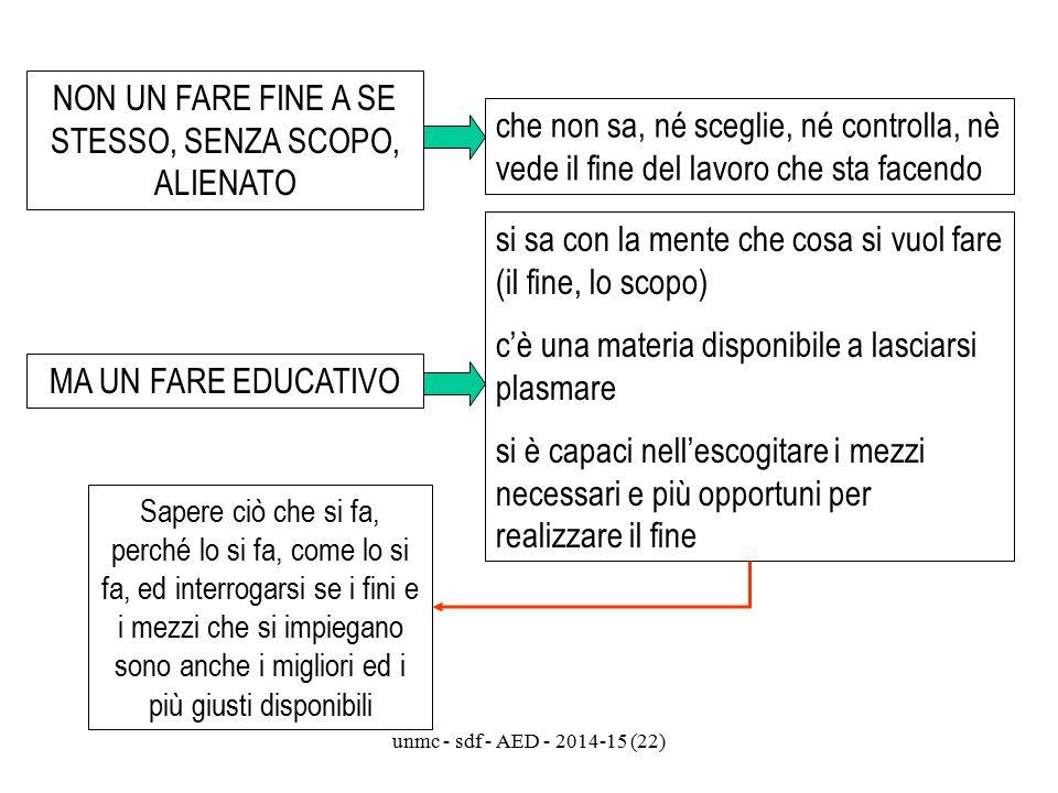 unmc - sdf - AED - 2014-15 (22) NON UN FARE FINE A SE STESSO, SENZA SCOPO, ALIENATO che non sa, né sceglie, né controlla, nè vede il fine del lavoro c