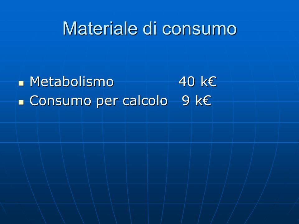 Materiale di consumo Metabolismo 40 k€ Metabolismo 40 k€ Consumo per calcolo 9 k€ Consumo per calcolo 9 k€