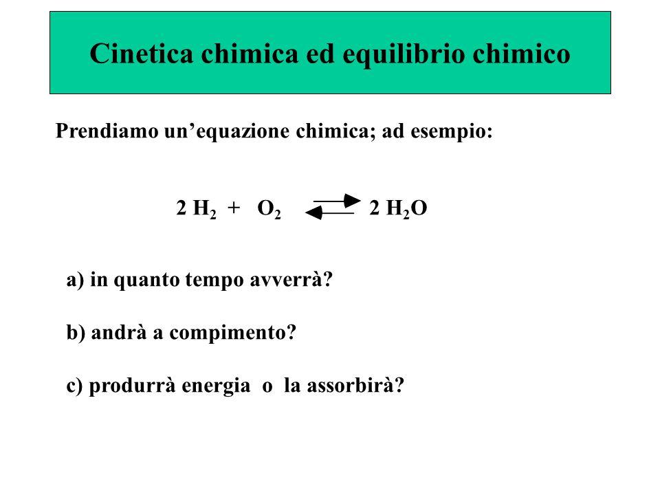 Cinetica chimica ed equilibrio chimico Prendiamo un'equazione chimica; ad esempio: 2 H 2 + O 2 2 H 2 O a) in quanto tempo avverrà? b) andrà a compimen
