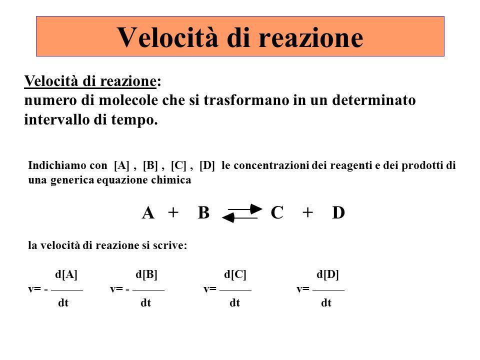 Velocità di reazione Velocità di reazione: numero di molecole che si trasformano in un determinato intervallo di tempo. Indichiamo con [A], [B], [C],