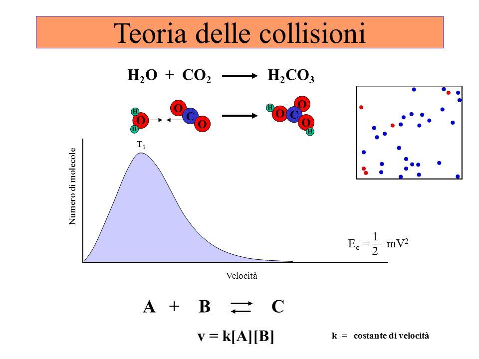Teoria delle collisioni O H H O C O O H O C O H H 2 O + CO 2 H 2 CO 3 1 E c = mV 2 2 T1T1 Velocità Numero di molecole v = k[A][B] A + B C k = costante