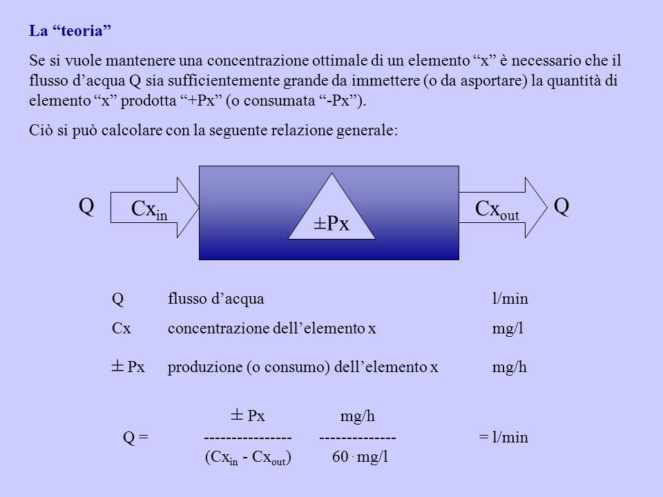 Qflusso d'acqual/min Cxconcentrazione dell'elemento xmg/l ± Pxproduzione (o consumo) dell'elemento xmg/h Cx in Cx out QQ ± Pxmg/h Q =-----------------