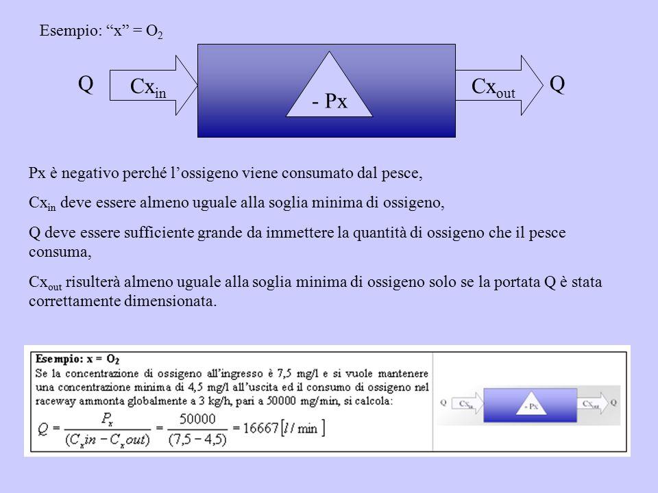 """Cx in Cx out QQ Esempio: """"x"""" = O 2 - Px Px è negativo perché l'ossigeno viene consumato dal pesce, Cx in deve essere almeno uguale alla soglia minima"""