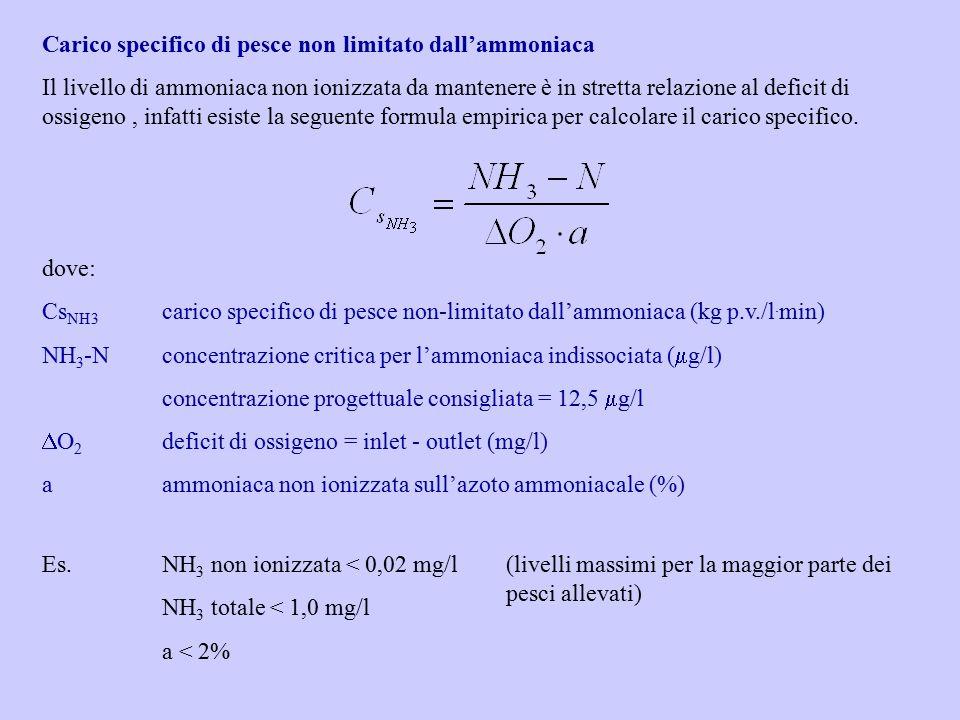 Carico specifico di pesce non limitato dall'ammoniaca Il livello di ammoniaca non ionizzata da mantenere è in stretta relazione al deficit di ossigeno