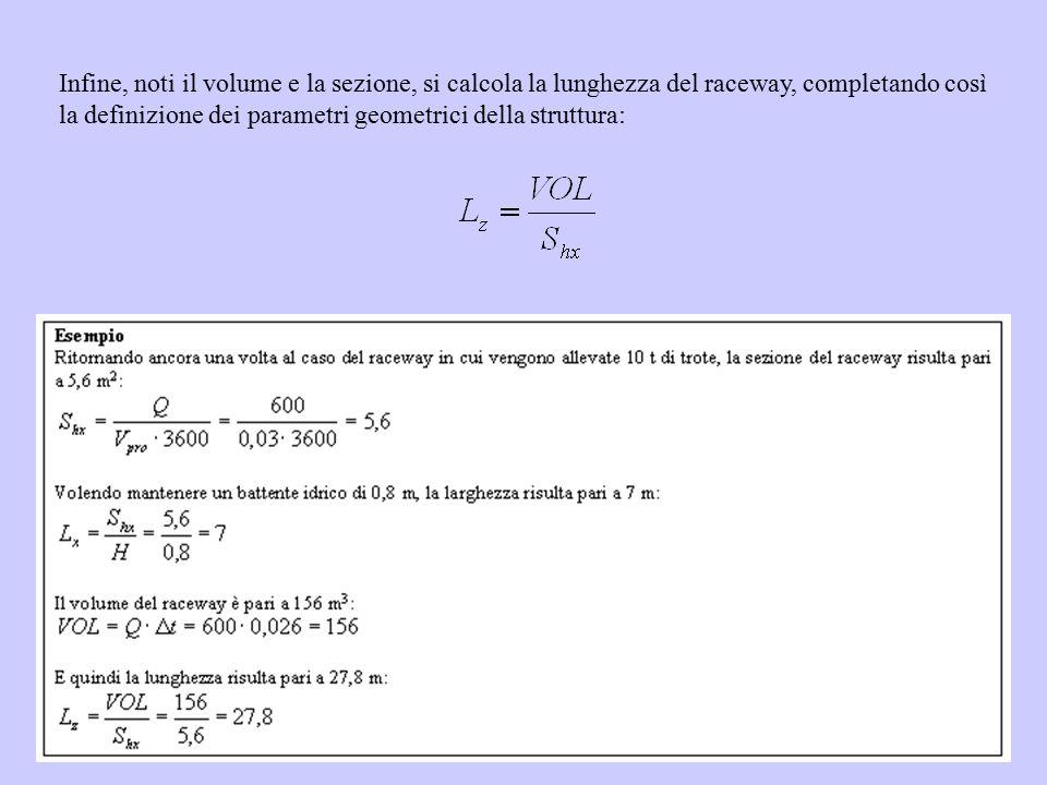 Infine, noti il volume e la sezione, si calcola la lunghezza del raceway, completando così la definizione dei parametri geometrici della struttura: