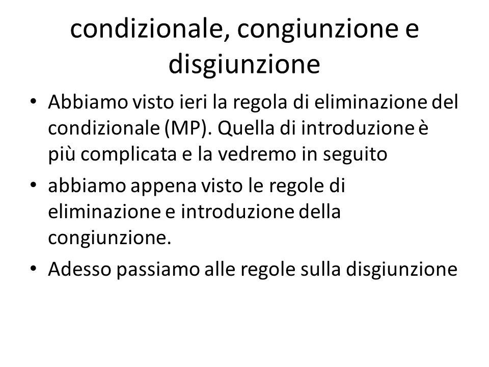 condizionale, congiunzione e disgiunzione Abbiamo visto ieri la regola di eliminazione del condizionale (MP). Quella di introduzione è più complicata