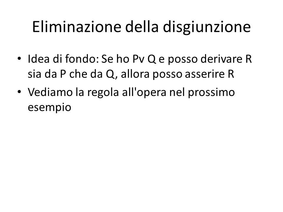 Eliminazione della disgiunzione Idea di fondo: Se ho Pv Q e posso derivare R sia da P che da Q, allora posso asserire R Vediamo la regola all'opera ne