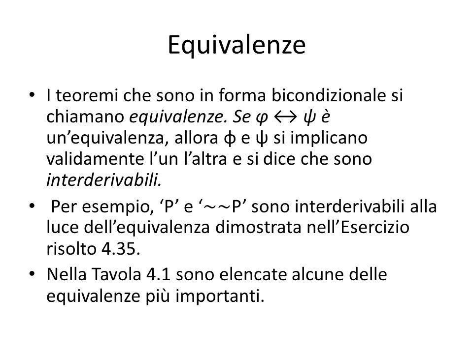 Equivalenze I teoremi che sono in forma bicondizionale si chiamano equivalenze.