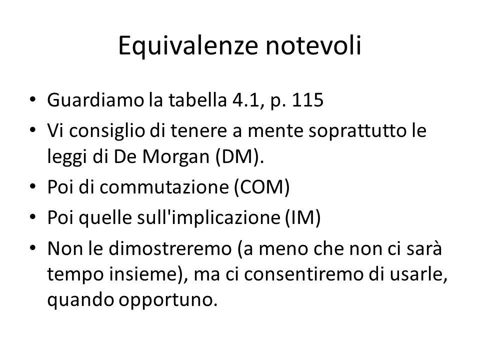 Equivalenze notevoli Guardiamo la tabella 4.1, p.