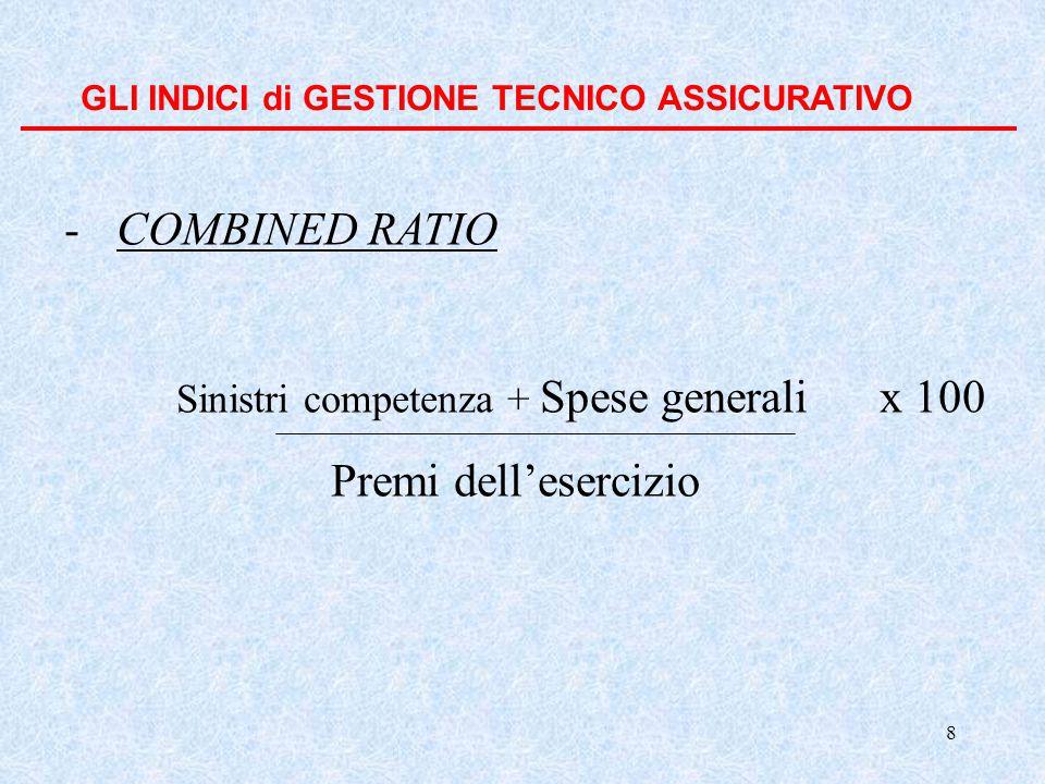 8 GLI INDICI di GESTIONE TECNICO ASSICURATIVO -COMBINED RATIO Sinistri competenza + Spese generali x 100 Premi dell'esercizio