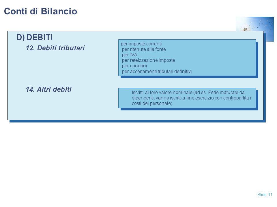 Slide 11 D) DEBITI 12. Debiti tributari 14. Altri debiti D) DEBITI 12. Debiti tributari 14. Altri debiti Conti di Bilancio per imposte correnti per ri