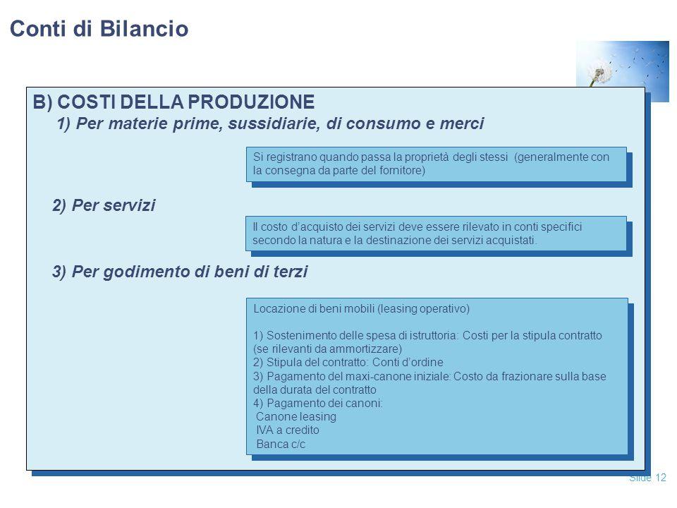 Slide 12 B) COSTI DELLA PRODUZIONE 1) Per materie prime, sussidiarie, di consumo e merci 2) Per servizi 3) Per godimento di beni di terzi B) COSTI DELLA PRODUZIONE 1) Per materie prime, sussidiarie, di consumo e merci 2) Per servizi 3) Per godimento di beni di terzi Conti di Bilancio Il costo d'acquisto dei servizi deve essere rilevato in conti specifici secondo la natura e la destinazione dei servizi acquistati.