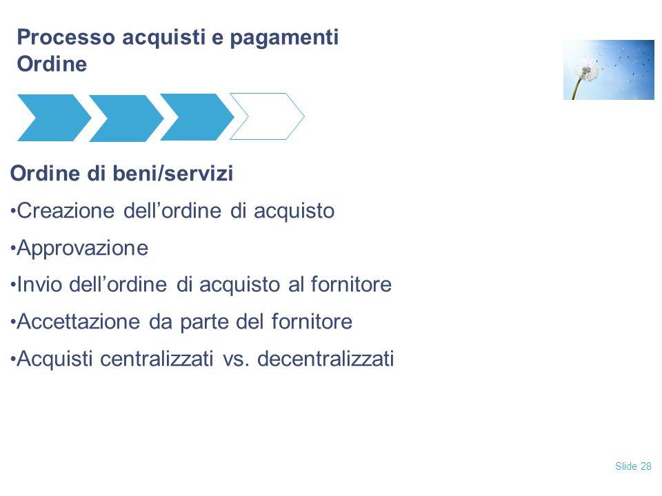 Slide 28 Processo acquisti e pagamenti Ordine Ordine di beni/servizi Creazione dell'ordine di acquisto Approvazione Invio dell'ordine di acquisto al fornitore Accettazione da parte del fornitore Acquisti centralizzati vs.