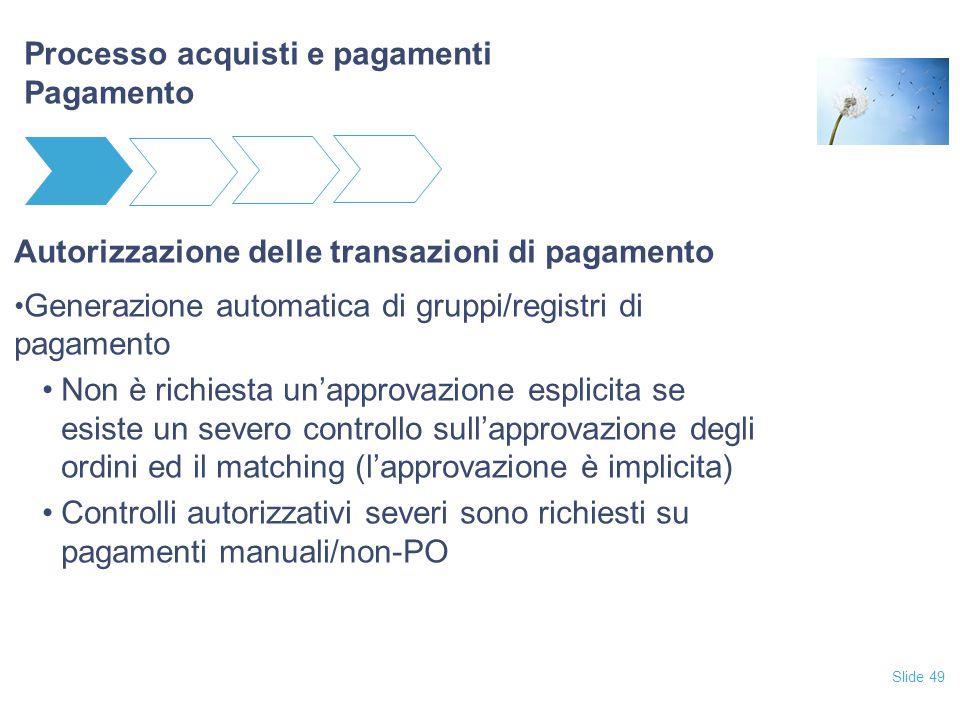 Slide 49 Processo acquisti e pagamenti Pagamento Autorizzazione delle transazioni di pagamento Generazione automatica di gruppi/registri di pagamento
