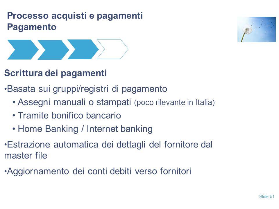 Slide 51 Processo acquisti e pagamenti Pagamento Scrittura dei pagamenti Basata sui gruppi/registri di pagamento Assegni manuali o stampati (poco rile