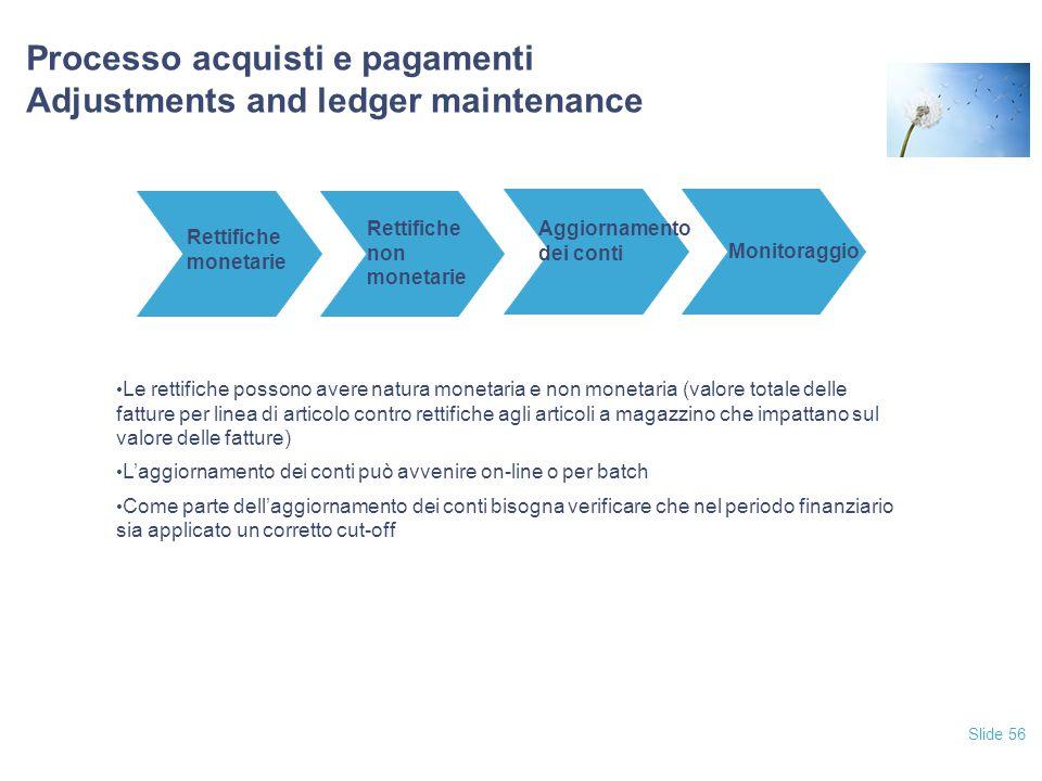 Slide 56 Processo acquisti e pagamenti Adjustments and ledger maintenance Rettifiche monetarie Rettifiche non monetarie Aggiornamento dei conti Monito