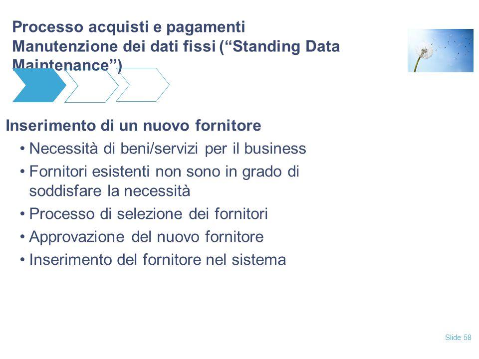"""Slide 58 Processo acquisti e pagamenti Manutenzione dei dati fissi (""""Standing Data Maintenance"""") Inserimento di un nuovo fornitore Necessità di beni/s"""