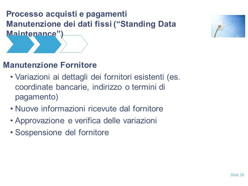 Slide 59 Processo acquisti e pagamenti Manutenzione dei dati fissi ( Standing Data Maintenance ) Manutenzione Fornitore Variazioni ai dettagli dei fornitori esistenti (es.