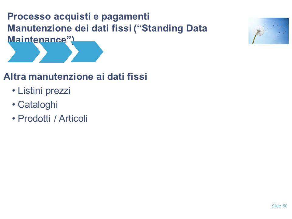 """Slide 60 Processo acquisti e pagamenti Manutenzione dei dati fissi (""""Standing Data Maintenance"""") Altra manutenzione ai dati fissi Listini prezzi Catal"""