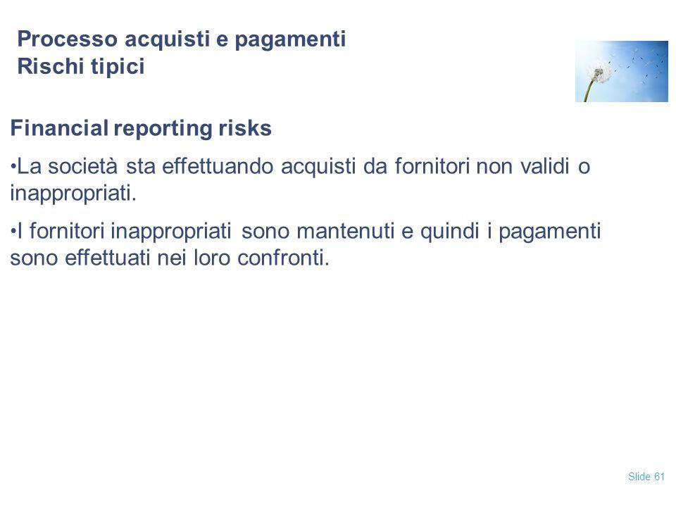 Slide 61 Processo acquisti e pagamenti Rischi tipici Financial reporting risks La società sta effettuando acquisti da fornitori non validi o inappropr