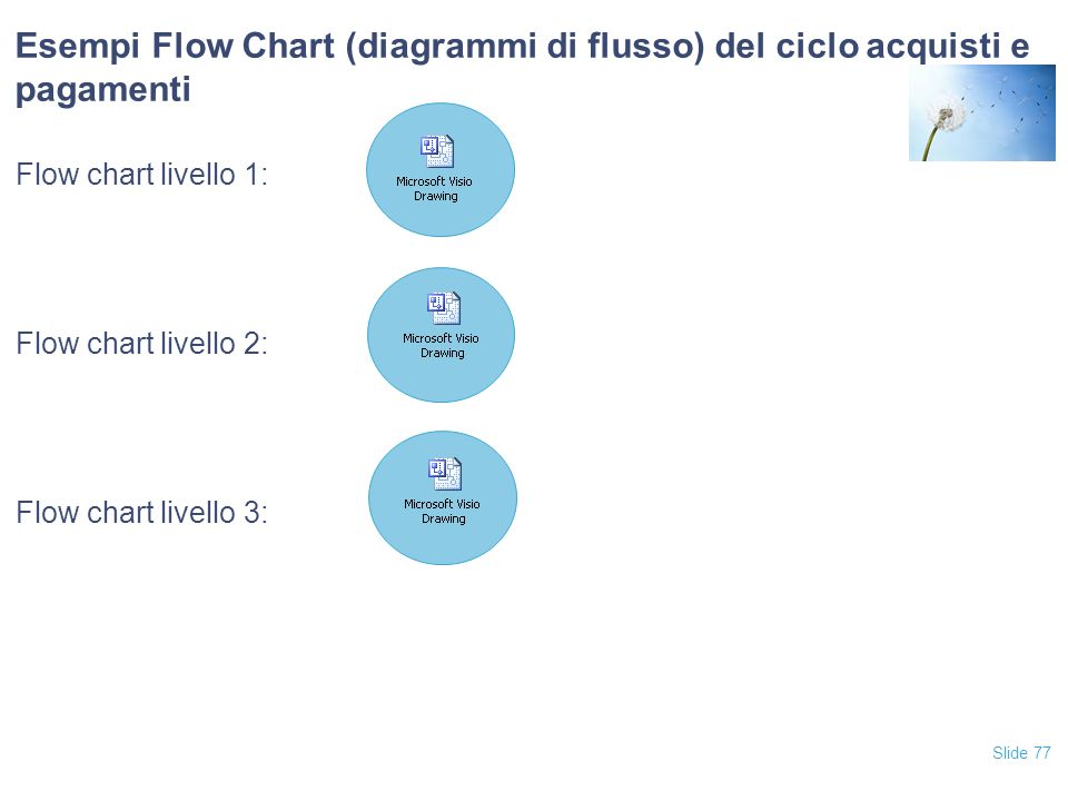 Slide 77 Esempi Flow Chart (diagrammi di flusso) del ciclo acquisti e pagamenti Flow chart livello 1: Flow chart livello 2: Flow chart livello 3: