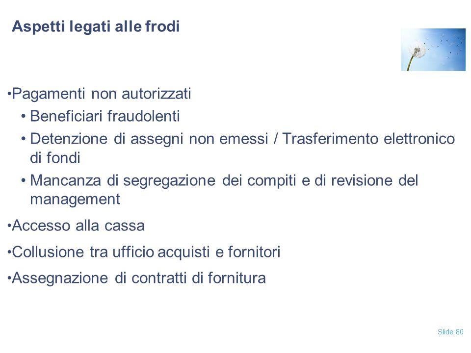 Slide 80 Aspetti legati alle frodi Pagamenti non autorizzati Beneficiari fraudolenti Detenzione di assegni non emessi / Trasferimento elettronico di f